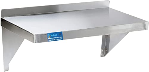 AmGood 18 Width x 48 Length Stainless Steel Wall Shelf Square Edge Metal Shelving Heavy Duty Commercial Grade Wall Mount NSF Certified