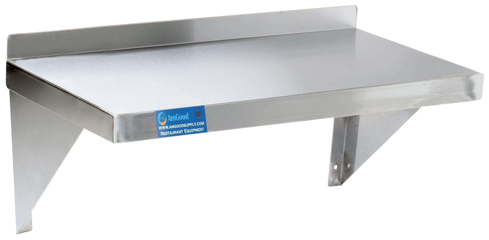 AmGood 14'' Width x 48'' Length | Stainless Steel Wall Shelf | Square Edge | Metal Shelving | Heavy Duty | Commercial Grade | Wall Mount | NSF Certified by AmGood