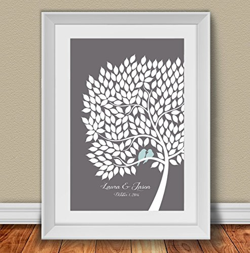 Personalized Wedding Guest Book Alternative Poster. Signing Tree with love birds. 200 leaves. 20x30 inches. Custom Gift for Anniversary, Family Reunion and Bridal (Wedding Poster)