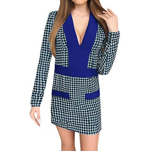 Business lunga scollo Square con S Abito 2019 2xl Popular M manica longuette colori Fitted a 3 blu V ApwqHtP
