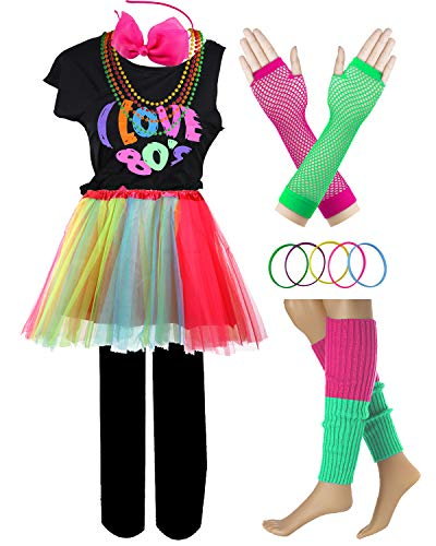 Rock Star Halloween Costumes For Kids (I Love 80s Pop Party Rock Star Child Girl's Costume Accessories Fancy Outfits (7-8, 80s)