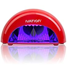 Ivation Professional LED Manicure Curing/Setting Lamp w/One Touch Presets - Safer Then Traditional UV Lamps - Lightweight & Portable (Red)