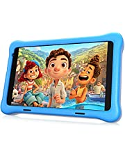 """HAPPYBE 8 inch Kids Tablet, 8"""" Display, 1080p Full HD, Quad Core Android 10, 32GB, Parental Control, Kidoz Installed, WiFi, Dual Camera Google Play, YouTube, Children's Tablets, Blue Kid-Proof Case"""