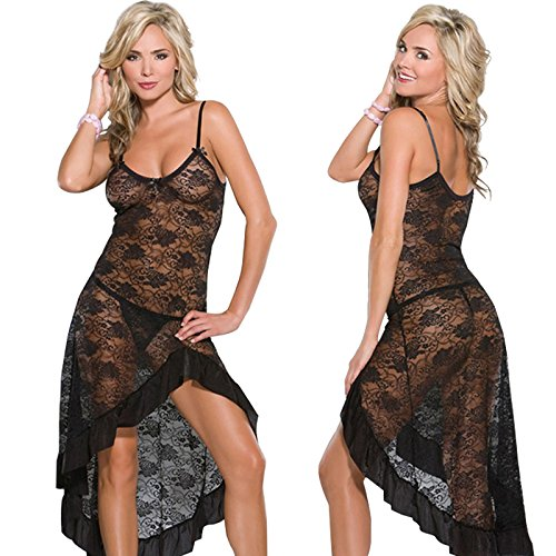 LOVELYBOBO 2 Pack Women Lace Nightwear Lingerie Plus Size Lace High Split Long Gown Dress Sexy Babydoll Chemise (Black+Red) by LOVELYBOBO (Image #2)