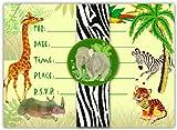 Dolce Mia Jungle Animals Safari Birthday Party Invitations - 10 pack fill-in cards