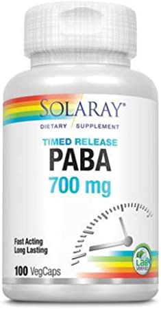Solaray Paba TSTR Vitamin Capsules, 700 mg | 100 Count