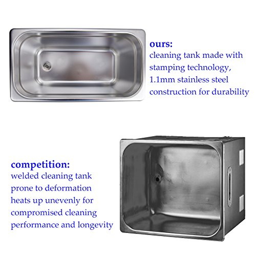 CO-Z 6L Stainless Steel Professional Ultrasonic Jewelry Denture Cleaner with Digital Timer & Heater by CO-Z (Image #3)