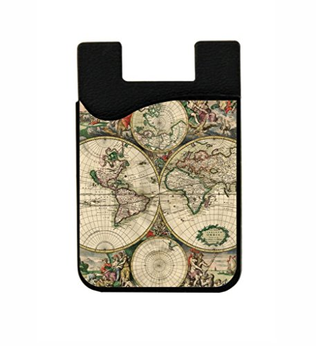 Ancient World Map - Jacks Outlet TM Black Stick-On Silicon Card Phone - Outlets Orange Map