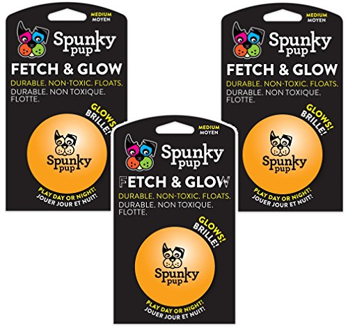 (3 Pack) Spunky Pup Toys Fetch and Glow Jr. Ball, Medium