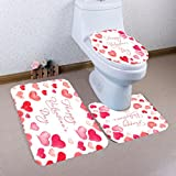 PrettyW 3PC Non-Slip Toilet Seat Cover Set,Non-Slip Pedestal Rug+Lid Toilet Cover+Bath Mat,Valentine's Day Pattern (A)