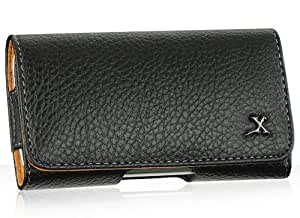 Premium Executive Black Horizontal Leather Belt Clip Carrying Pouch case for HTC Thunderbolt (Free Gift)
