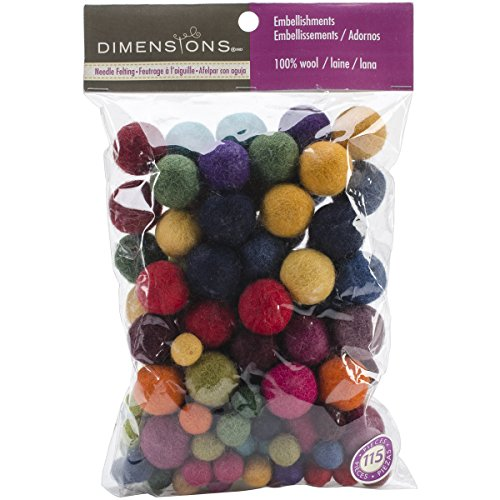 Dimensions Crafts Assorted Wool Balls for Needle Felting, 115 pcs