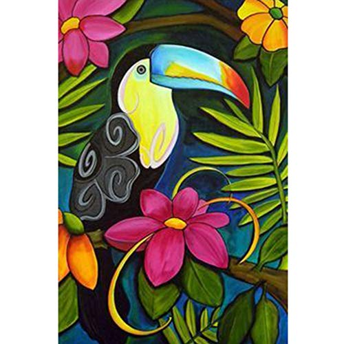 UPMALL DIY 5D Diamond Painting by Number Kits,Full Drill Crystal Rhinestone Embroidery Pictures Arts Craft for Home Wall Decoration Toucan 11.8×15.7Inches ()