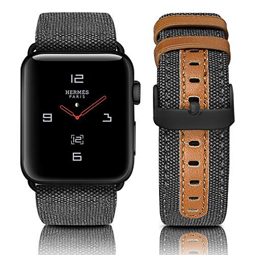 Jobese Compatible with Apple Watch Band 42mm/44mm 38mm/40mm, Classic Canvas Fabric Straps Black Buckle Genuine Leather Compatible with Apple Watch Series 4, Series 3/2/1 Sports - Band Canvas