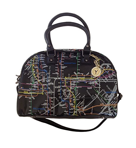 NYC Map Bowler Bag (Black) -
