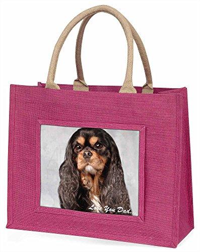 Advanta King Charles Hund, Love You Dad Große Einkaufstasche Weihnachten Geschenk Idee, Jute, Rosa, 42x 34,5x 2cm