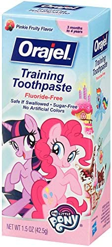51OnY5Ppc9L. AC - Orajel My Little Pony Fluoride-Free Training Toothpaste, Pinky Fruity Flavor, One 1.5oz Tube: Orajel #1 Pediatrician Recommended Brand For Kids Non-Fluoride Toothpaste