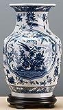 Home decor. Blue and White Round Vase. Dimension: 9 x 8 x 14. Pattern: Bird.