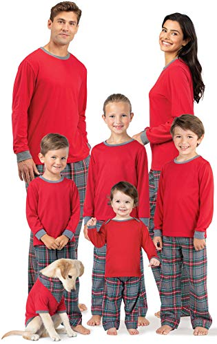 PajamaGram Matching Family Pajamas Plaid - Matching Pajamas, Gray,