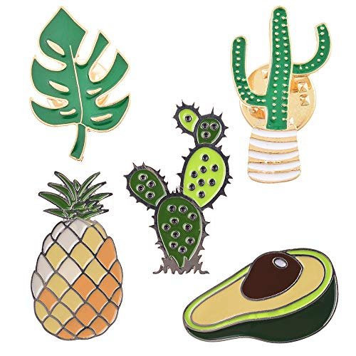 MJARTORIA Cute Pins for Backpack Cartoon Cactus Pineapple Enamel Cool Brooch Pin Badges Set for Backpack Clothes Bags ()