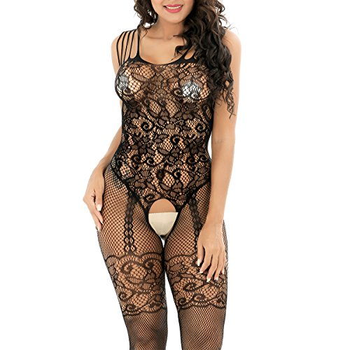 3496b05eb ... evershare Women Sexy Lingerie Fishnet Floral Crotchless Bodystocking  Open Crotch Bodysuit For Sex Black. Sale! Previous