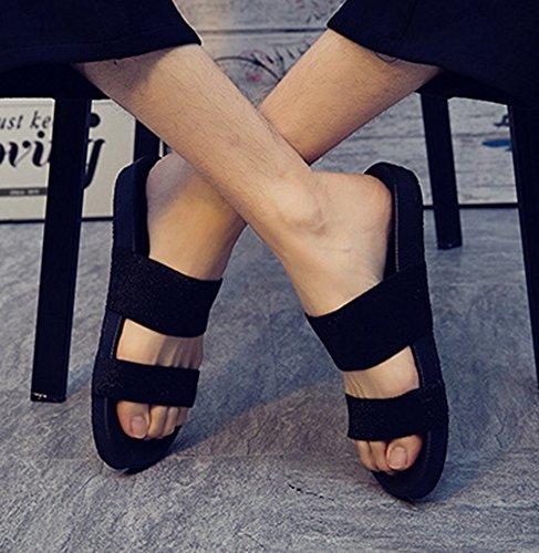 Sandals Slide Mens Strap Toe Slippers Shoes Flat Comfort Sandy Black Open Casual Elastic Beach Two Aisun HxzqBvwCq
