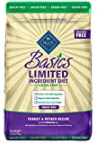 Blue Buffalo Basics Limited Ingredient Diet, Grain Free Natural Adult Dry Dog Food, Turkey & Potato 24-lb, Adult Turkey and Potato