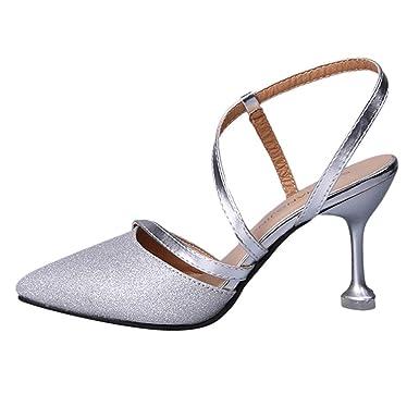 8feea7a4898 Shusuen ∩⊥∩ Sexy Women Strap Pointed Toe Shoes Wild High Heel Stiletto  Sequins Fashion