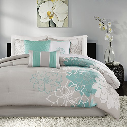 Madison Park Lola 7 Piece Print Comforter Set, Aqua, Queen, Size