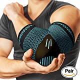 PowerLix Elbow Brace Compression Support (PAIR) - Elbow Sleeve For Tendonitis, Tennis Elbow Brace And Golfers Elbow Treatment, Arthritis, Workouts, Weightlifting – Reduce Elbow Pain