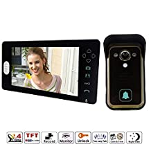 J-DEAL 7 Inch Colorful LCD Screen Video Doorbell Video Door Phone Home Security Camera Monitor Intercom System Crystal Clear Picture Perfect Sound Quality Ultra-slim Design Indoor Monitor 100 Degrees Wide Visual Angle Night Vision - with Rain Cover