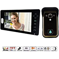 J-DEAL® 7 Inch Colorful LCD Screen Video Doorbell Video Door Phone Home Security Camera Monitor Intercom System Crystal Clear Picture Perfect Sound Quality Ultra-slim Design Nice and Luxurious Indoor Monitor 100 Degrees Wide Visual Angle Clear Night Vision and IP55 Waterproof Outdoor Camera - with Rain Cover (Black)