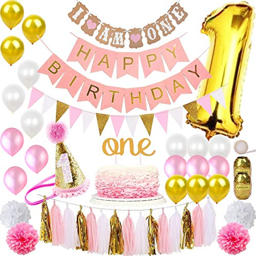 FunDeco Party 1st Birthday Decorations for Girl 'Mega Bundle' | Pink and Gold Girls Theme Kit Set | First Bday Hat, One' Cake Topper, Foil and Latex Balloons, Banner x 2, Pom Poms, Bunting, Tassel