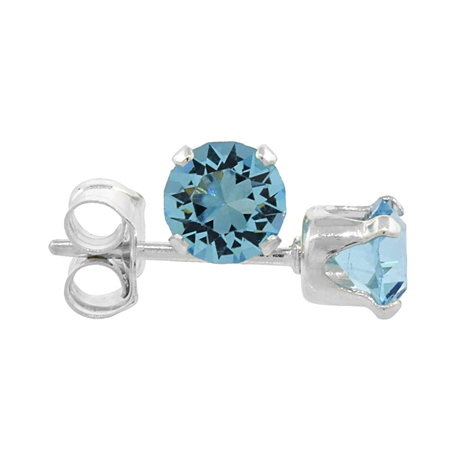 Com Sterling Silver March Birthstone Stud Earrings
