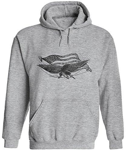 - Unisex Mens Civil War Eagle Pullover Hooded Sweatshirt (Heather Grey, M)
