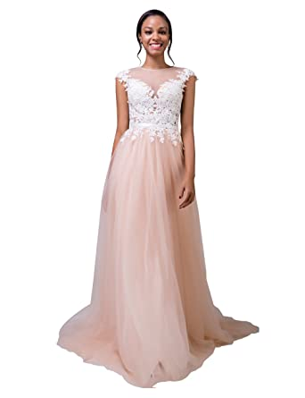 LORIE Nude Pink Evening Dress Lace Simple Wedding Dresses Party ...
