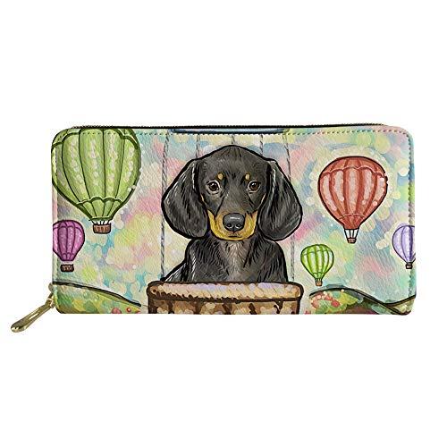 Womens PU Leather Wallet Long Clutch Bag Cute Dachshund Print Zipper Purse Credit Card - Cute Dachshund