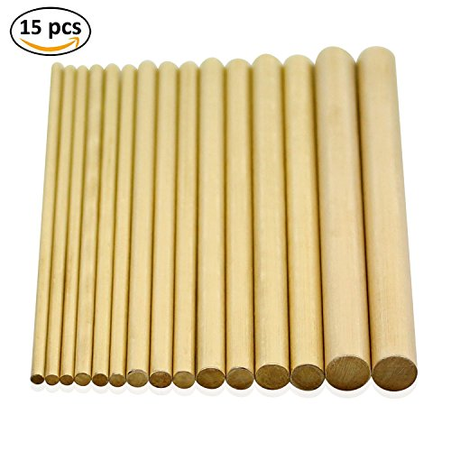 DYWISHKEY Brass Round Rods Bar Assorted, Diameter 2.5-8mm for DIY Craft Tool (15Pcs)