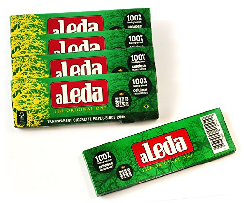 5 booklets - aLeda Transparent rolling paper King Size from Brazil - total 200 papers (Rolling Papers Transparent)