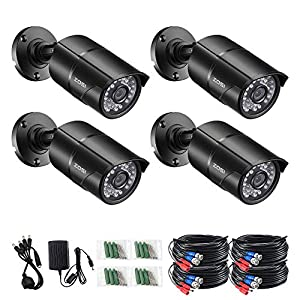 ZOSI 4 Pack 2.0 Megapixel HD 1080P 4 in 1 TVI/CVI/AHD/CVBS Security Cameras Day Night Waterproof Camera 100ft IR Distance For HD-TVI, AHD, CVI, and CVBS/960H analog DVR System by ZOSI