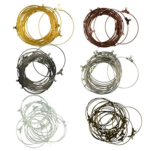 MonkeyJack 120 Pieces Wholesale Beading Hoop Earring Ear Wire Jewelry DIY Findings 6 Colors Mixed Crafts