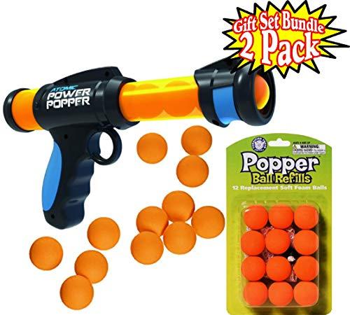Hog Wild Atomic Power Popper 6X Pump Action Blaster with 12 Orange Soft Foam Replacement (Refill) Balls Gift Set Bundle - 2 Pack