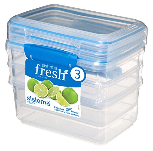 Sistema 921613 Fresh Collection 4.2 Cup Food Storage Containers (3 Pack), 33.8 oz, Clear/Marine Blue