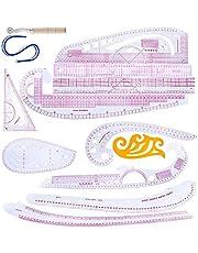 TIEMORE Pattern Design Ruler, Diy Sewing Ruler Tailor Set, 7 Pieces Curve Ruler Accessories, French Curves Pattern Maker for Dressmaking/Clothing Designing/Needlework