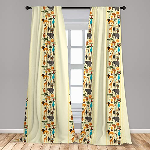 "Ambesonne African Window Curtains, Dark Continent Elements Woman of Color Carrying Water Lion Elephant, Lightweight Decorative Panels Set of 2 with Rod Pocket, 56"" x 95"", Pastel Yellow"