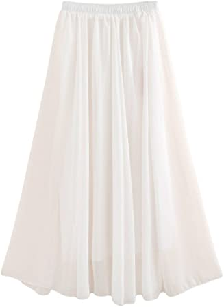 Oferta amazon: Golden service Falda Mujer Elástica Plisada Básica Falda Larga Mujer Maxi Bohemia Playa Vacaciones Gasa con Talla Grande Cintura Elástica Talla Length:100cm