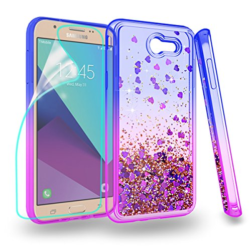 Stars Design Case Protector (Samsung Galaxy J7 (2017)/ J7 V 2017/Galaxy J7 Perx/J7 Prime Phone Case, Glitter Case with Quicksand Bling adorable shine,ZingCon [HD Screen Protector]Shockproof Protective Cover-Blue/Purple)
