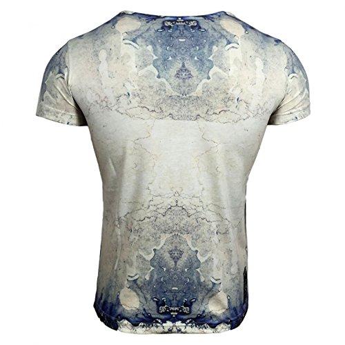 T-Shirt Herren Print Druck Motiv Kurzarm Rundhals A16840 Avroni, Größe:XL, Farbe:Beige