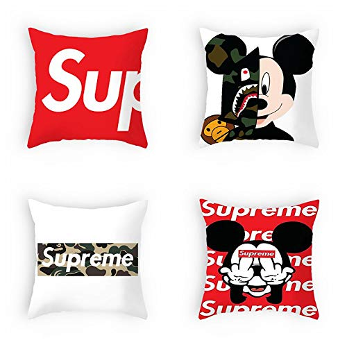 Mouse Mms - OATHENE Set of 4 Throw Pillow Covers,Blue Chocolate Beans M&M´s,Camouflage Shark x Mickey Mouse,Red Supreme Funny Cute Cotton Linen Cushion Sofa Bedroom Car,Home Decor,18 x 18 Inch,1413