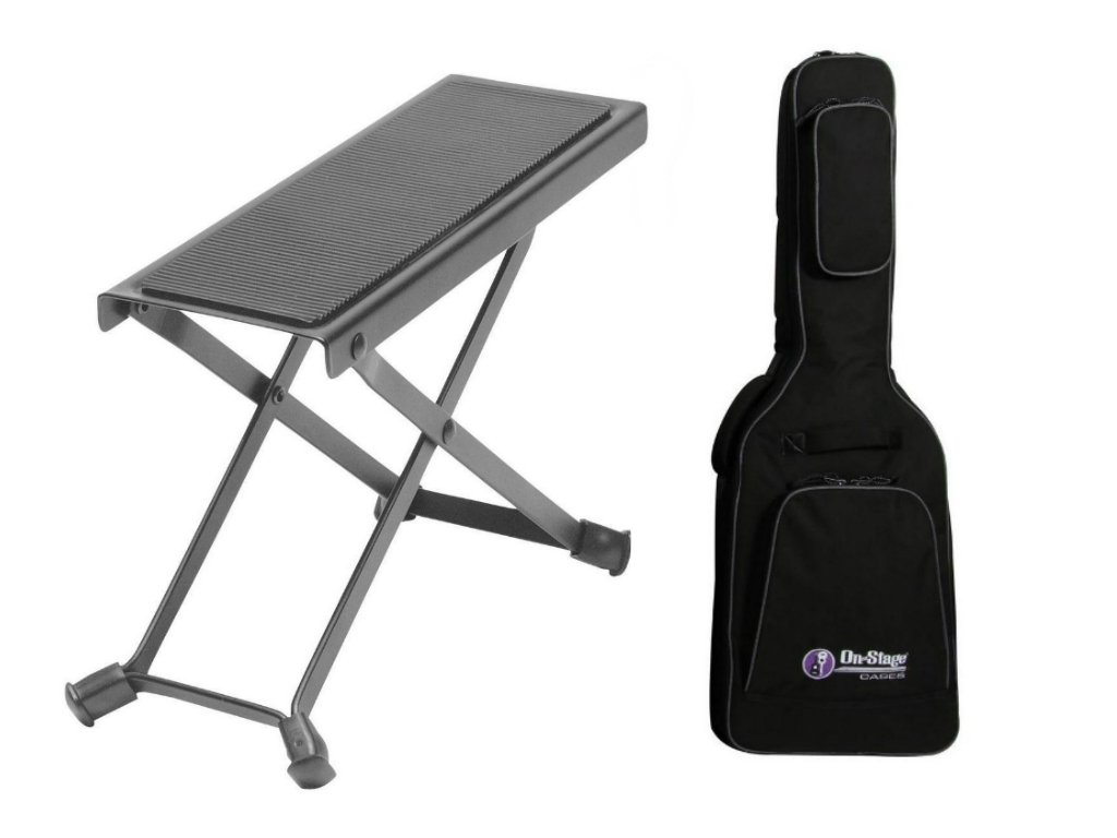 Combo offer On Stage Guitar Foot Rest with Deluxe Electric Guitar Gig Bag